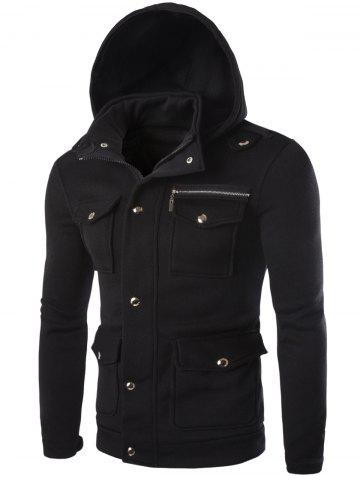 Latest Long Sleeve Pocket and Zipper Design Hooded Jacket BLACK 2XL