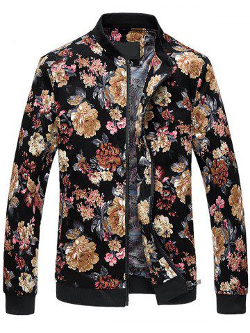 Outfit Zip Up Stand Collar Flowers Pattern Plus Size Jacket - M COLORMIX Mobile