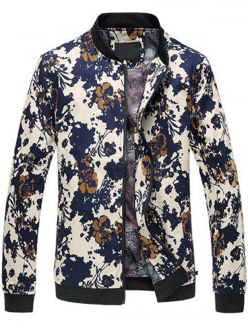 Chic 3D Floral Printed Zip Up Stand Collar Plus Size Jacket COLORMIX 6XL