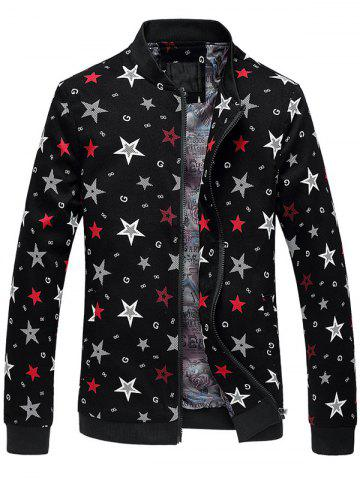 Trendy Plus Size 3D Stars Printed Zip Up Stand Collar Jacket