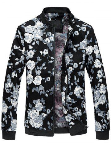 Outfits Floral Print Plus Size Zipper Long Sleeves Jacket