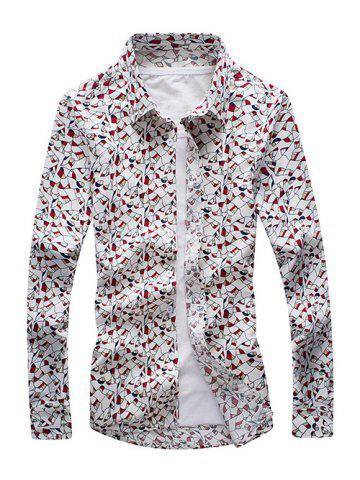 Outfit Printed Long Sleeve Button-Down Shirt RED 3XL