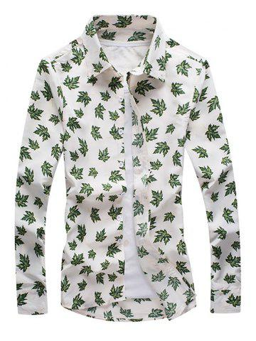 Sale Maple Leaf Print Long Sleeve Button-Down Shirt WHITE 3XL