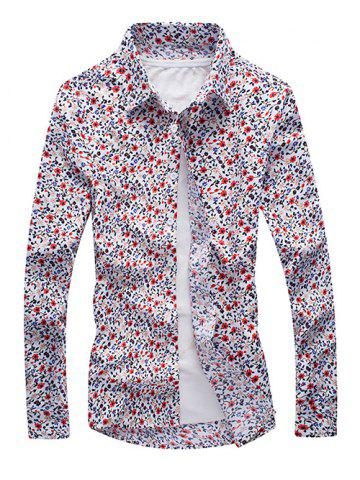 Fashion Tiny Floral Print Long Sleeve Button Up Shirt