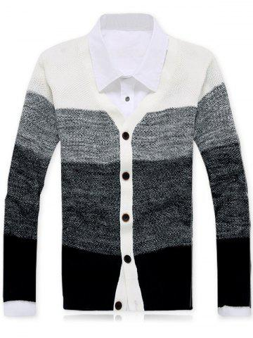 Buy Button Up V-Neck Striped Cardigan