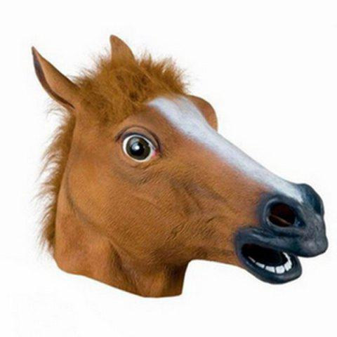 Online Halloween Supply Party Cospaly Fur Mane Horse Head Mask - BROWN  Mobile
