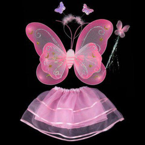 Halloween Supplies Butterfly Angel Dress Up 4PCS Kids Costume Set - Pink - 137*70cn-m