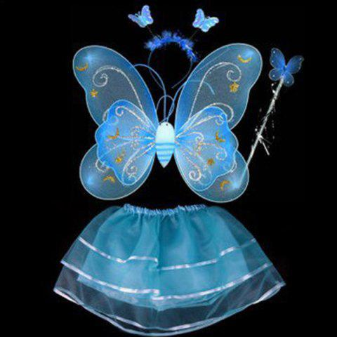 Affordable Halloween Supplies Butterfly Angel Dress Up 4PCS Kids Costume Set BLUE