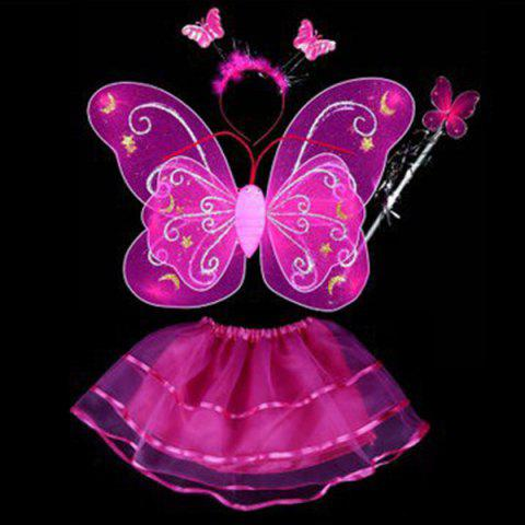 Fancy Halloween Supplies Butterfly Angel Dress Up 4PCS Kids Costume Set - ROSE RED  Mobile
