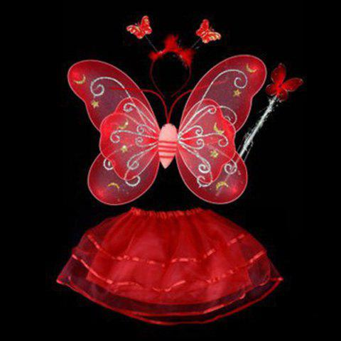 Trendy Halloween Supplies Butterfly Angel Dress Up 4PCS Kids Costume Set - RED  Mobile