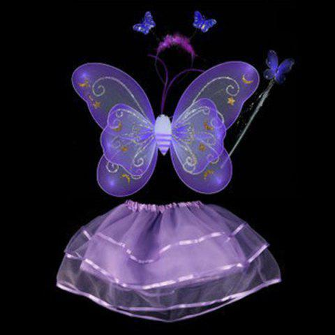 Buy Halloween Supplies Butterfly Angel Dress Up 4PCS Kids Costume Set - PURPLE  Mobile