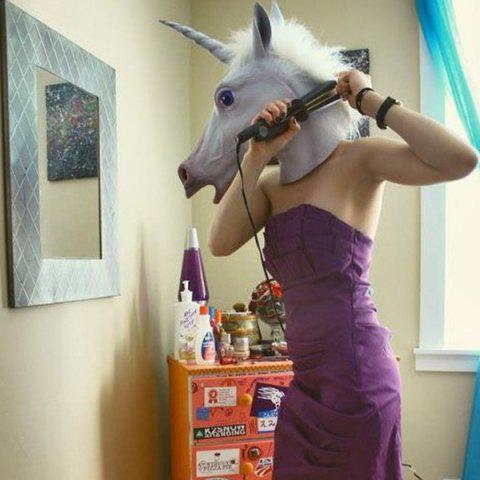 Outfit Halloween Cosplay Prop Unicorn Head Latex Mask