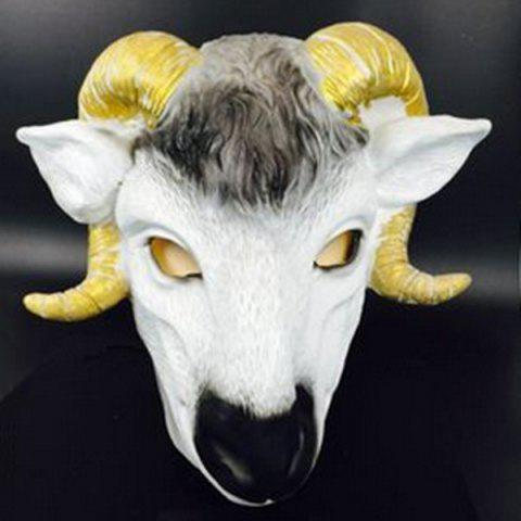 Halloween Supply Cosplay Prop Scary Goat Head Latex Mask - WHITE/YELLOW