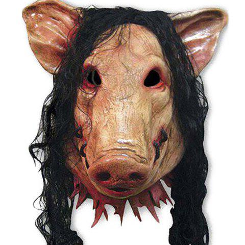 Cheap Halloween Supplies Cosplay Scary Pig Head With Hair Mask Prop