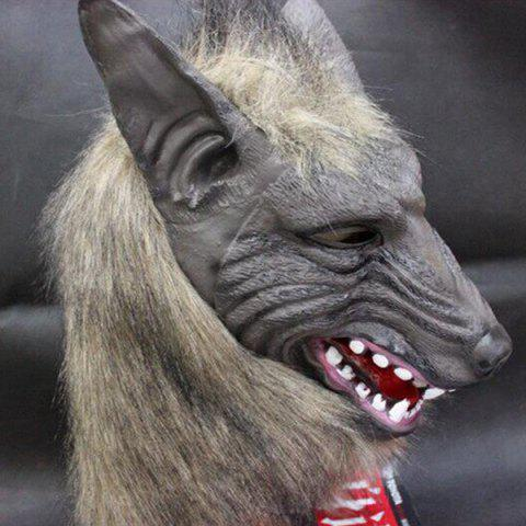 Cheap Halloween Cosplay Supply Scary Wolf Head Mask Prop - GRAY  Mobile