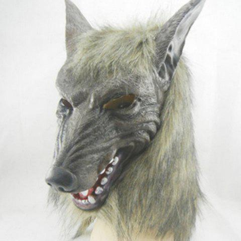 Outfit Halloween Cosplay Supply Scary Wolf Head Mask Prop - GRAY  Mobile