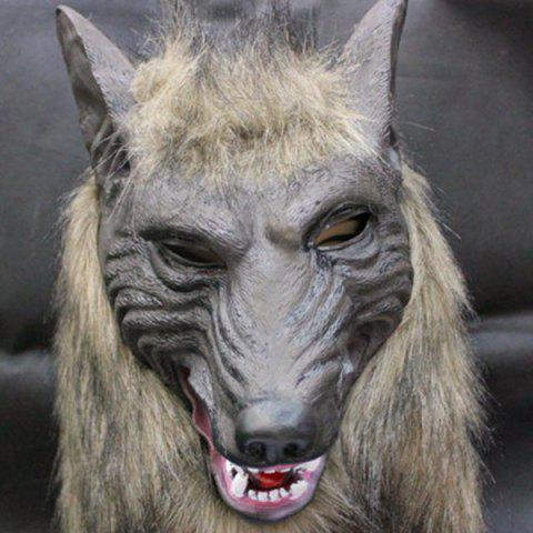 Fashion Halloween Cosplay Supply Scary Wolf Head Mask Prop - GRAY  Mobile
