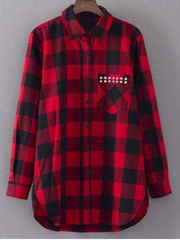 Hot Shirt Neck Checked Rivet Shirt