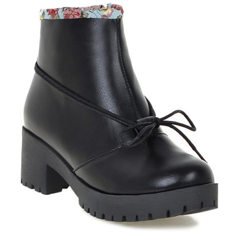 Trendy Floral Print Spliced Chunky Heel Ankle Boots BLACK 40