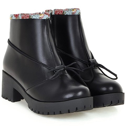 Sale Floral Print Spliced Chunky Heel Ankle Boots - 40 BLACK Mobile
