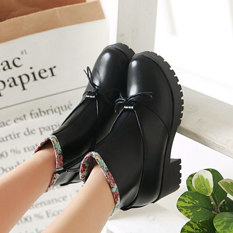 Buy Floral Print Spliced Chunky Heel Ankle Boots - 40 BLACK Mobile
