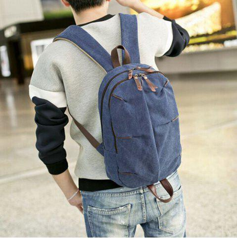 Trendy Concsie Zips Canvas Backpack -   Mobile