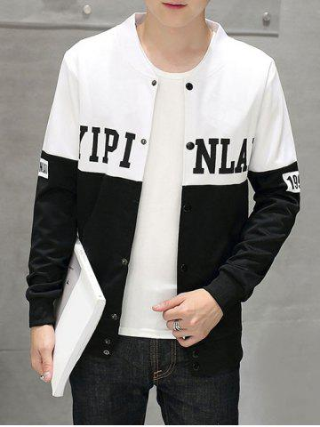 Snap Button Up Stand Collar Letter Print Jacket
