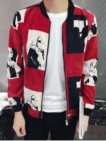 Outfit Figure Print Rib Insert Zip Up Jacket