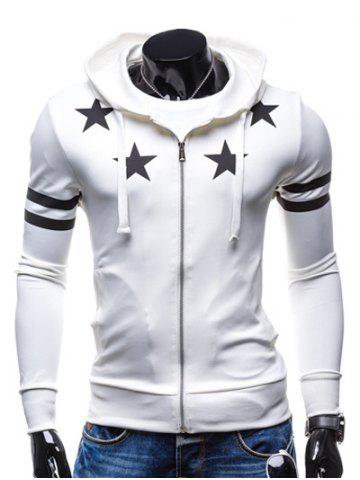 Trendy Star Print Zip Up Drawstring Hoodie