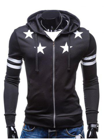 Star Print Zip Up Drawstring Hoodie - Black - 2xl