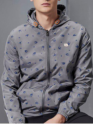 Outfit Zip-Up All-Over Animal Printed Hooded Jacket - GRAY 2XL Mobile