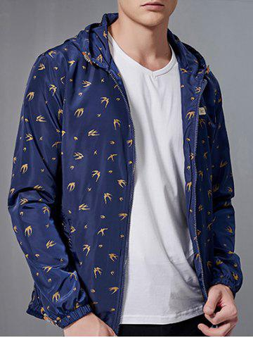 Shops Zip-Up All-Over Animal Printed Hooded Jacket - DEEP BLUE 2XL Mobile