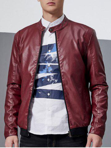 Shops Stand Collar Faux Leather Jacket - M RED Mobile