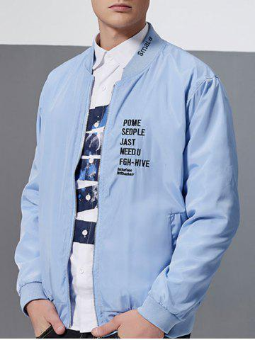 Hot Letter Embroidery Zip-Up Bomber Jacket AZURE L