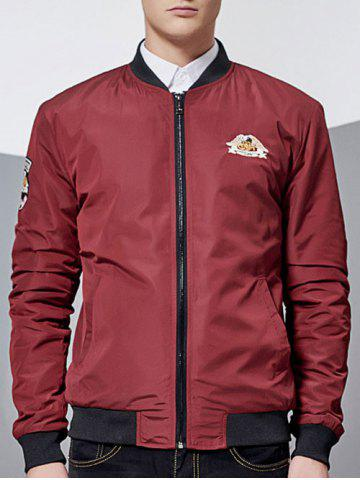 Latest Zip-Up Patch Design Bomber Jacket RED 3XL