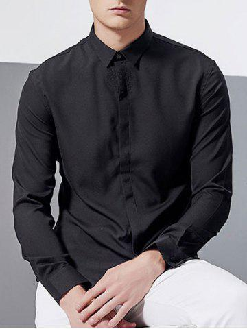 Store Hidden Button Design Long Sleeve Embroidery Shirt - L BLACK Mobile