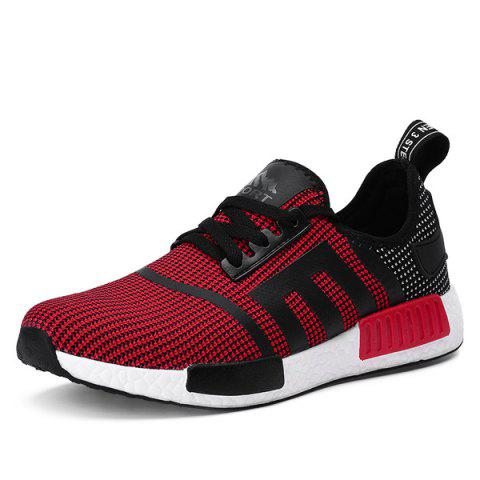 Buy Breathable Colour Spliced Tie Athletic Shoes - Red 44