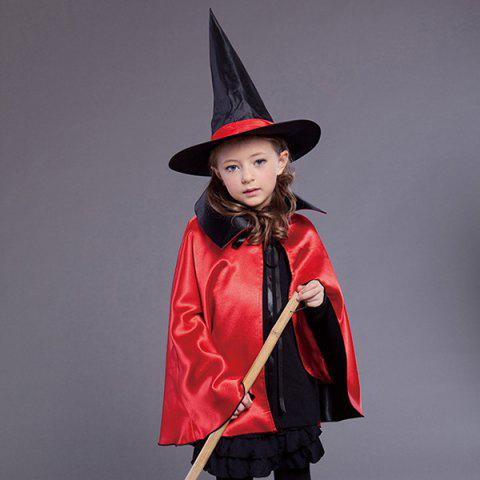 Outfit Halloween Kids Cosplay Witch Cloak Hat Costume Set - RED WITH BLACK  Mobile