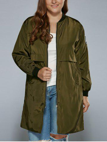 Fancy Plus Size Zip Up Patched Ruffled Trench Coat ARMY GREEN 4XL