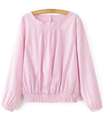 Sale Long Sleeve Striped Blouson Top PINK M