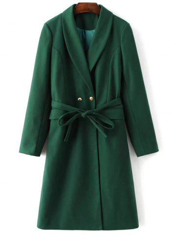 Fancy Belted Wool Blend Long Shawl Coat