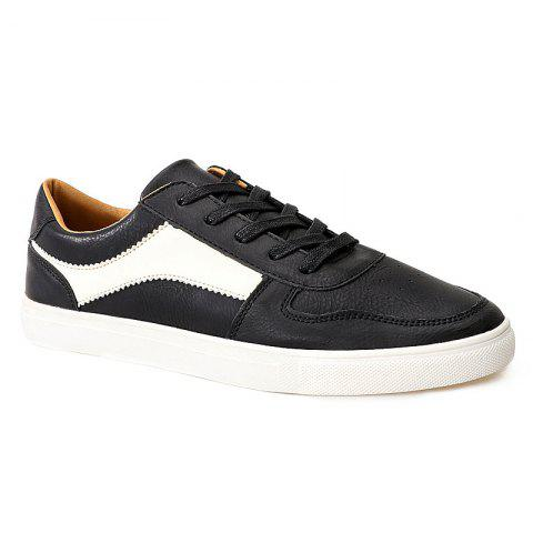 Chic PU Leather Tie Up Colour Spliced Casual Shoes