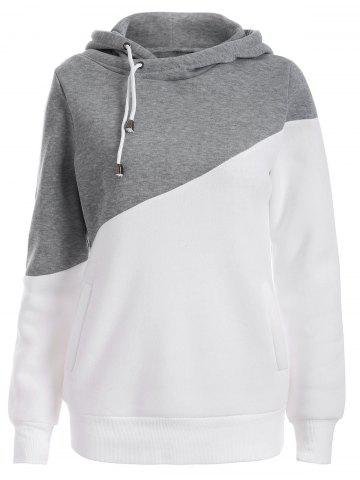 Trendy Pullover Drawstring Color Block Hoodie