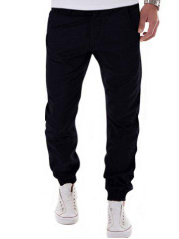 Discount Zipper Fly Big and Tall Chino Jogger Pants BLACK XL