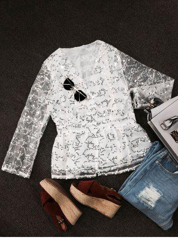 Shop See-Through Sequined Blouse WHITE L