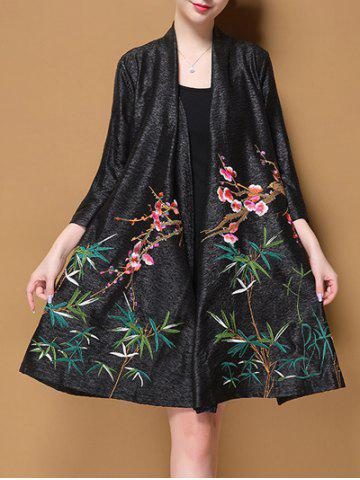 Chic Long Embroidered Cardigan
