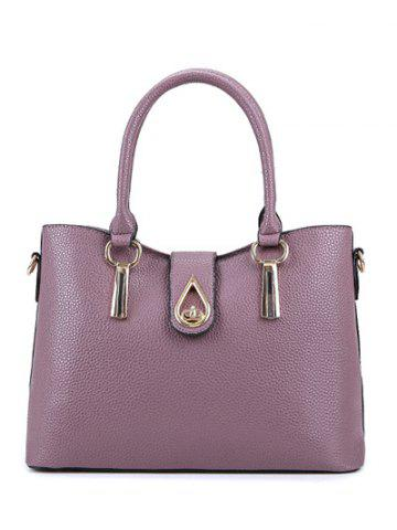 Outfit Textured Leather Twist-Lock Metal Tote Bag