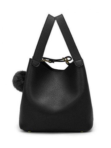 Textured Leather Magnetic Closure Metallic Tote Bag - Black