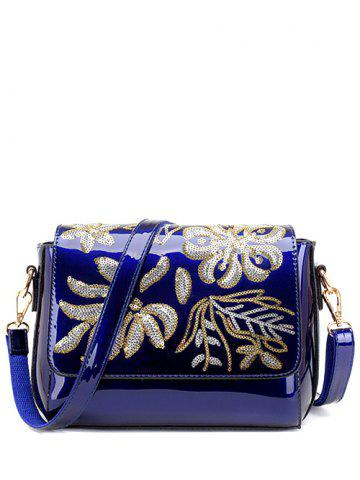 Best Magnetic Closure Sequins Flower Pattern Crossbody Bag BLUE