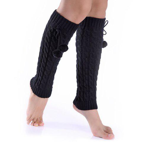 New Winter Pompon Bowknot Pendant Hemp Flowers Leg Warmers BLACK